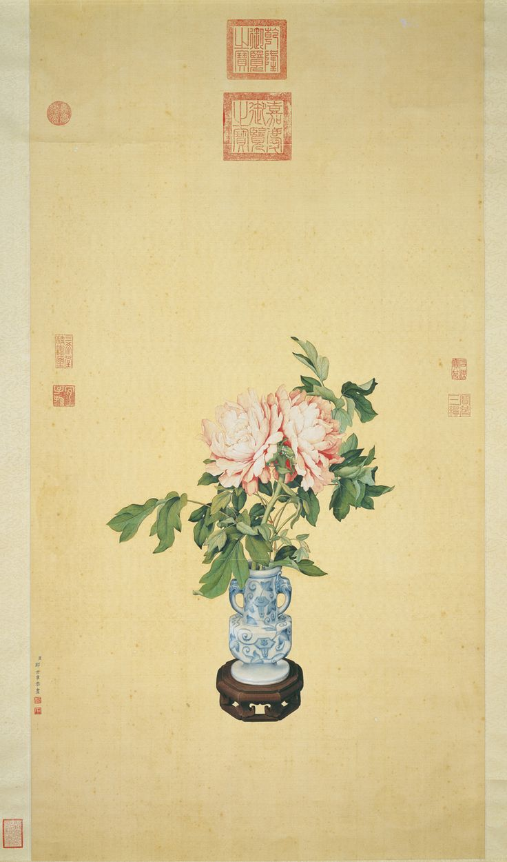 Flowers in a Vase Lang Shining (Giuseppe Castiglione, 1688-1766), Qing dynasty Hanging scroll, ink and colors on silk, 113.4 x 59.5 cm