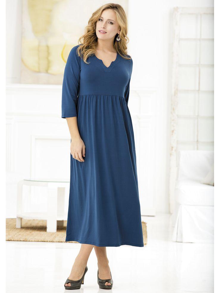 Women's #PlusSize Matte Jersey Regular-length Notch-neck #Dress