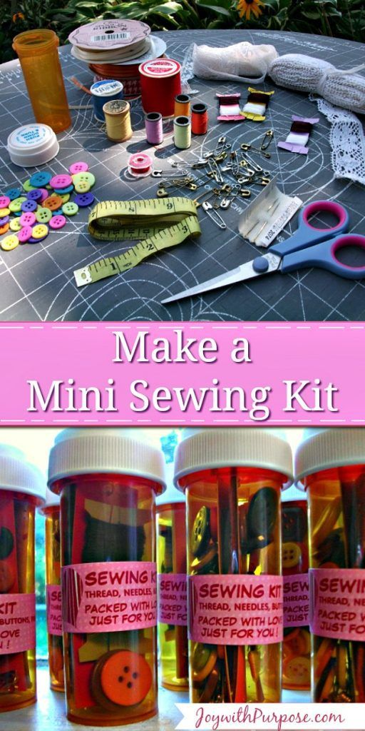 Make up some mini sewing kits.  Perfect to tuck into a purse or suitcase - OR include in an Operation Christmas Child shoebox. - great for girls AND boys gifts.  JOYwithPurpose.com