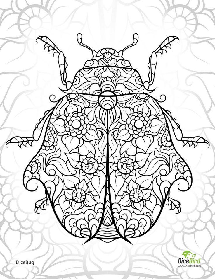 ladybug abstract doodle zentangle zendoodle paisley coloring pages colouring adult detailed advanced printable kleuren voor volwassenen