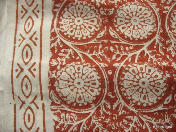 Sari Border Block Print Indian Soft Cotton Fabric By Yard