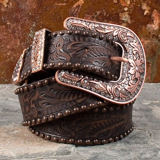 Antique Studded Brown Floral Belt with Copper Colored Buckle