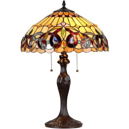 Chloe Lighting Serenity Tiffany-Style 2-Light Victorian Table Lamp with 16 inch Shade, Bronze