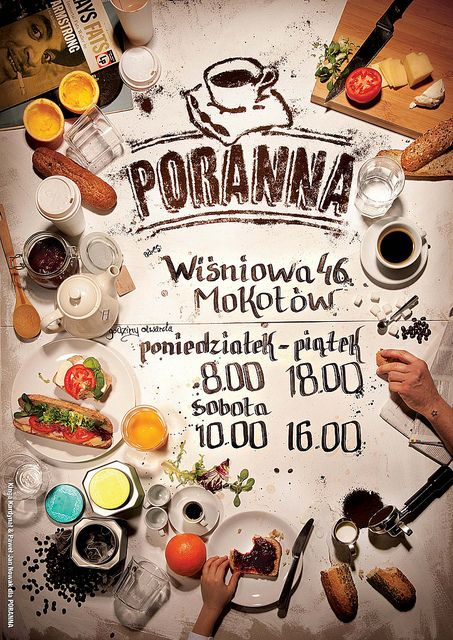 Poster Poranna. Really like the design but it can be misleading to ppl if we don't provide them with food as displayed here!