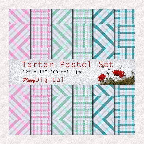 Digital Paper Pack Tartan Pastel Patterns Backgrounds Texture Overlay - Instant Download