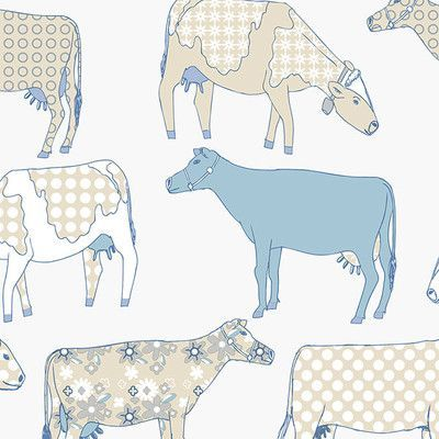 "Norwall Wallcoverings Inc Kitchen Elements 32.7' x 20.5"" Cow Parade Wallpaper Color: Cream / Blue"