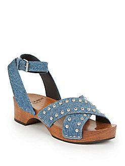 Saint Laurent - Studded Denim Clog Sandals