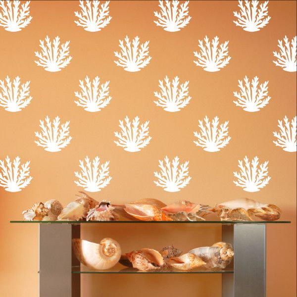 Coral Style A Set of 12 or 24 Vinyl Wall Decals 22573  #decor #decals #decal #walldecals #vinyl #beach #coral #seacoral #sea #ocean #nautical