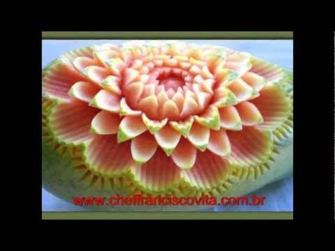 Fruit Carving, vegetable-LESSON 02 - CARVING NET SCHOOL - LEARNING FREE. - PAPAYA CARVING