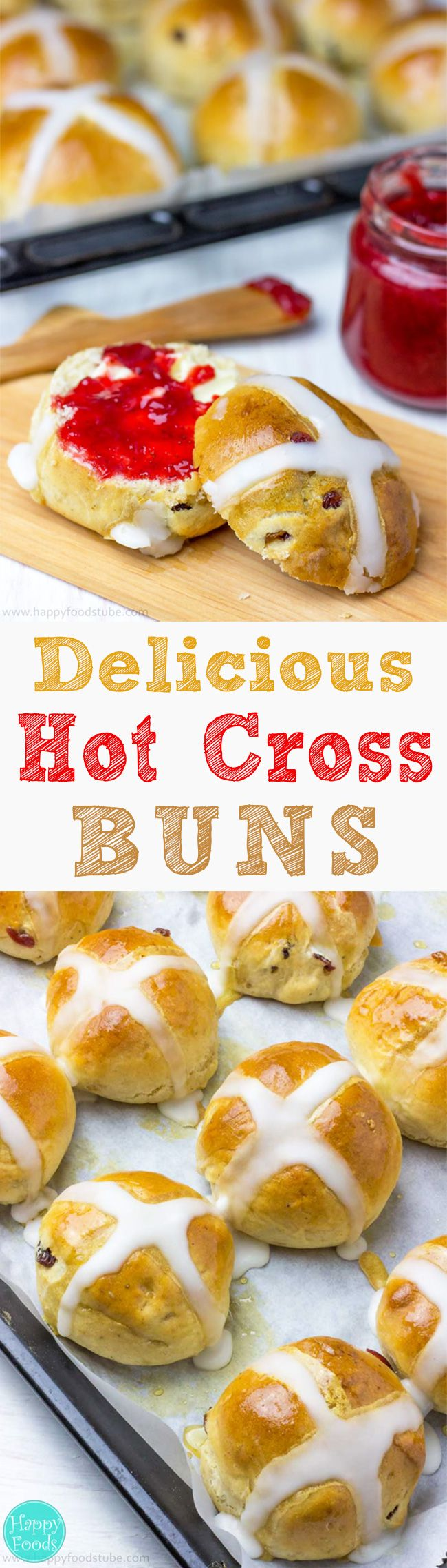 Delicious Hot Cross Buns Recipe - These spiced sweet buns with sticky glaze on top and dried fruit inside are simply irresistible! Easter. Good Friday | happyfoodstube.com