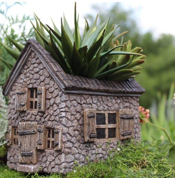 Unique House Shaped Fairy Garden Planter ~ Miniature Stone House Outdoor Container for Plants ~ Fairy Accessory Succulent Planter – Fairy Garden Houses| DIY Tips, Inspiration, or Shop