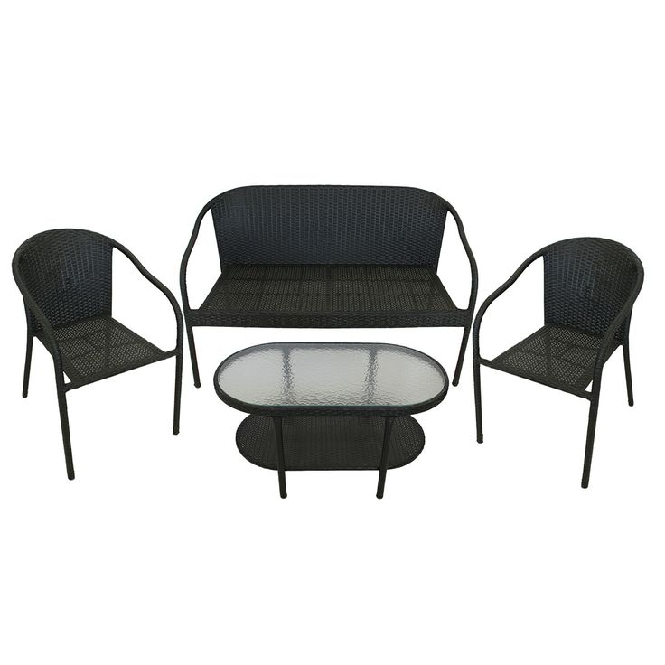 4 Piece Black Resin Wicker Patio Furniture Set   Loveseat, 2 Chairs U0026 Glass