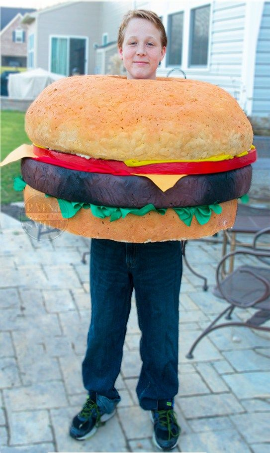 DIY hamburger costume tutorial from the homemade Halloween costume series at Paintyourselfasmile.com