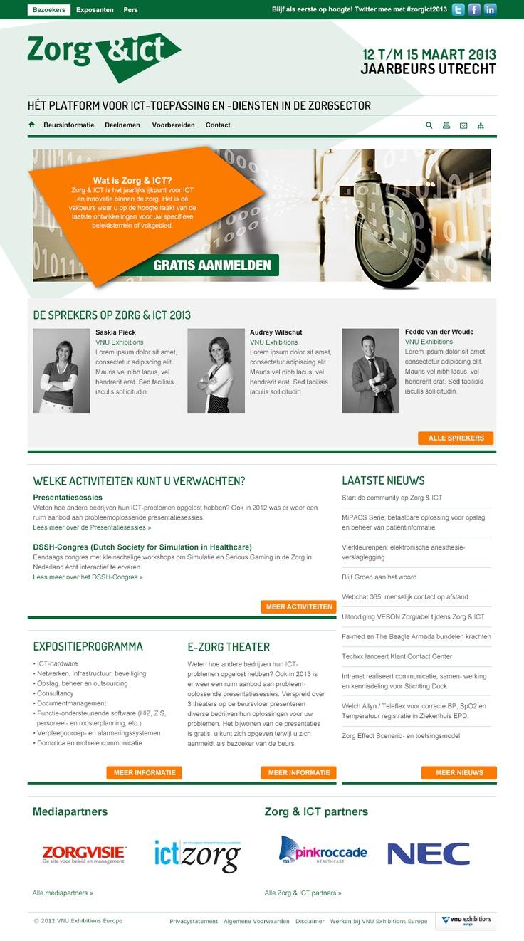Beurswebsite van Zorg voor VNU Exhibitions. (webdesign)