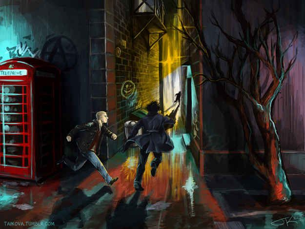 """15 Incredible Pieces Of """"Sherlock"""" Fan Art my favorite is the Holmes brother's duel and the broken mirror one"""