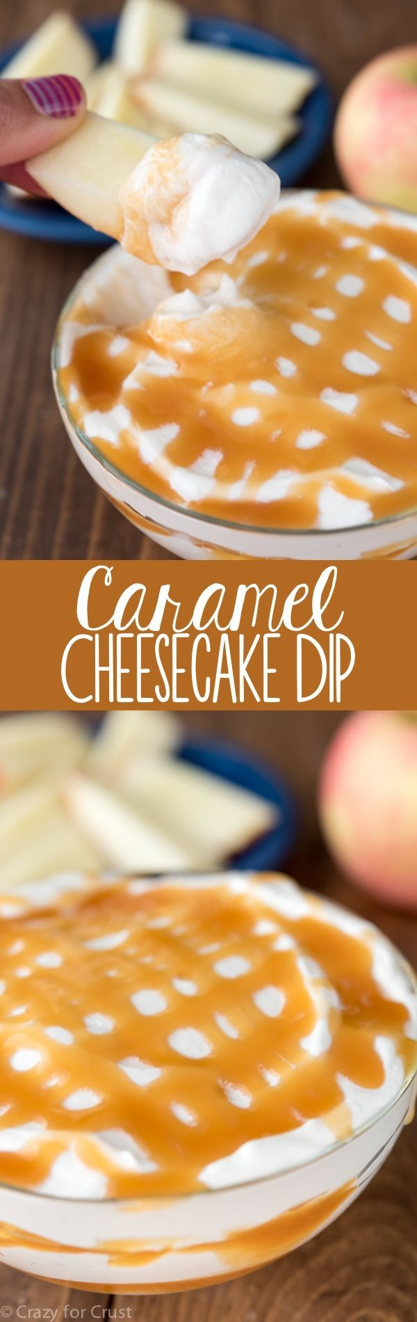 This easy Caramel Cheesecake Dip is the perfect fall recipe! Use it to dip apples or as a party dip!
