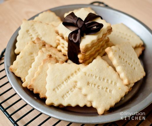 Lemon shortbread cookies. If you have this letter stamp you can send messages on a cookie for your loved once. Great gift idea :)