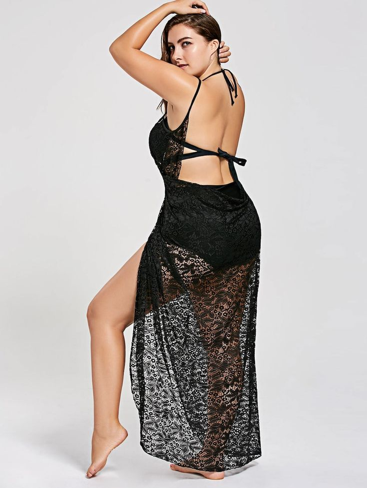 Plus Size Lace Wrap Cover Up Dress - BLACK 3XL