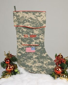"""The Army Christmas stocking is crafted in the ACU camouflage fabric. It's trimmed in scarlet piping and features the """"reverse American flag"""" embroidered on the stockings pocket. This Army ACU uniform"""