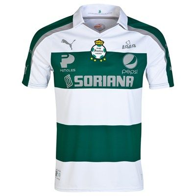 Santos Laguna 2014 Home Shirt (Green/White). Available from Kitbag.com