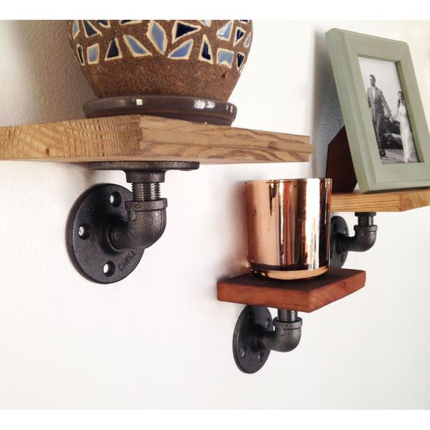 Love these rustic shelves made from pipe, flanges and reclaimed wood.  Charlie Wall Shelves - Set of 3