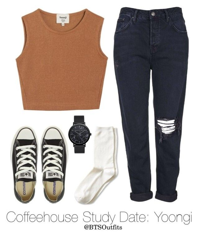 """""""Coffeehouse Study Date: Yoongi"""" by btsoutfits ❤ liked on Polyvore featuring Banana Republic, Samuji, Converse, Christian Paul and Topshop"""
