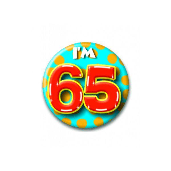 Verjaardagsbutton 65 jaar met stippen. Leeftijd button 65 jaar met een doorsnede van ongeveer 6cm.