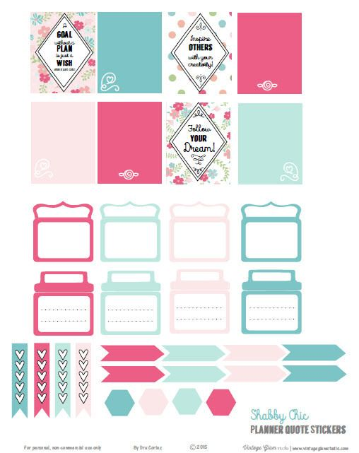 Shabby Chic Planner Quotes   Free printable download, suitable for Erin Condren life planners and other vertical weekly planners.