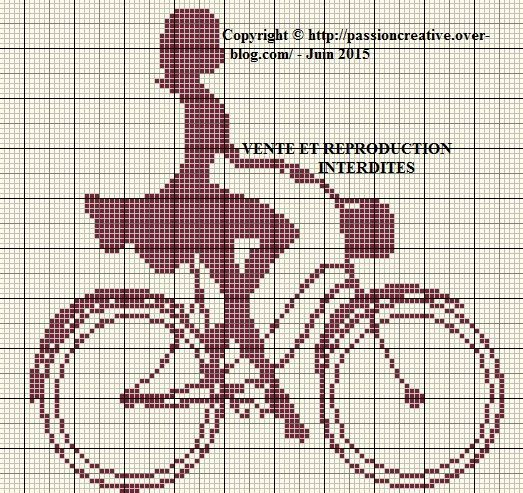 0 point de croix silhouette fille à vélo - cross stitch girl on a bike