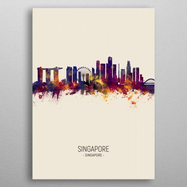 Singapore Skyline by Michael Tompsett | metal posters
