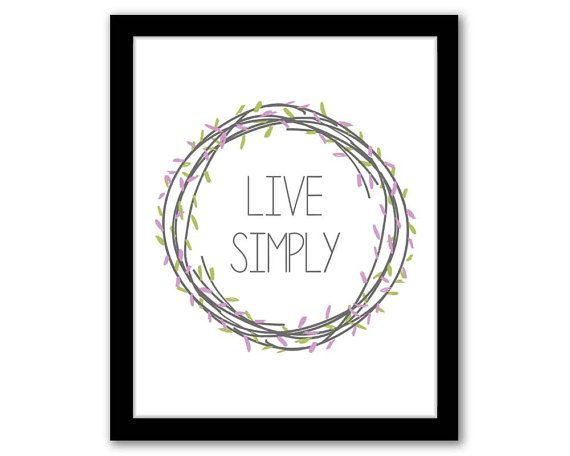 Live Simply, Green and Purple, Wall Art, Home Decor, Quote Art Print, Typography Art, Inspirational Quote, Digital Art, INSTANT DOWNLOAD