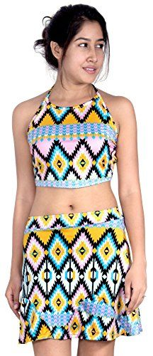 SlickBlue Womens Casual Two Piece Dress Crop Top and Skirt - X-Large. Cute 2 Piece Set Dress Aztec Print Skirt and Cropped Top. CROP TOP: Self Tie Halter Neck, Sleeveless, Elastic Back, Backless. MINI SKIRT: Stretchy Elastic at Waist, All Over Aztec Prints. PERFECT for Club Party, Evening Party, Night Out, Casual, Beach Wear etc.