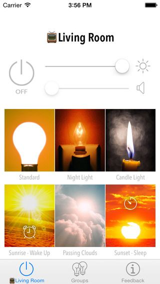 OnSwitch White for Philips Hue Lux by David Pewzner. Images to intuitively refer to what the one/tint of the light should be (vs. warm cold scale).