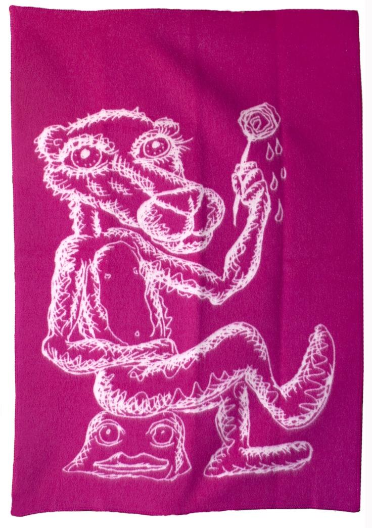Bjarne Melgaard - Ullpledd fra Røros Tweed, rosa/natur