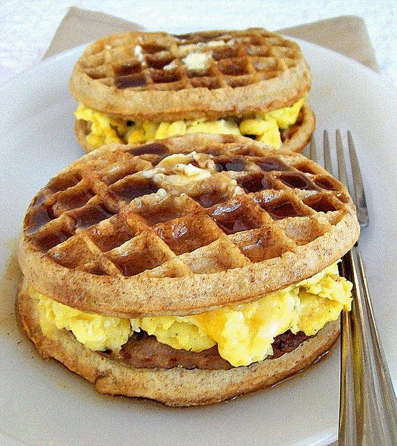 Breakfast Griddle Recipe Inspired by Paula Deen: going to make these with vegetarian sausage.