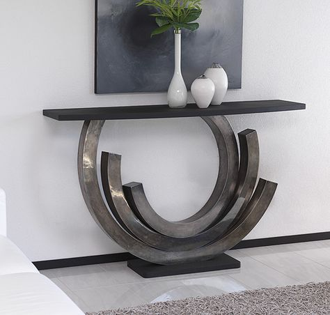 Antique silver patina designer console table. Steel framed console with table top and plinth in black polished lava stone . Bespoke sizes and options on request. Handmade and finished console tables. Part of a 'chic' and 'unique' range of designer European furniture and interiors.