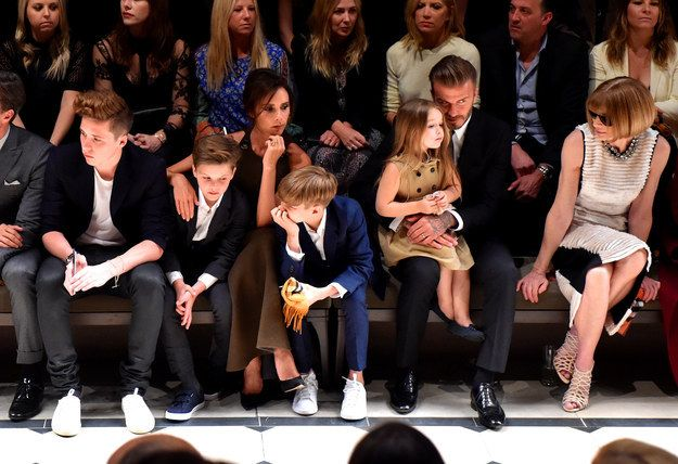 JUST LOOK AT THEM FIRST ROW LIKE THE ROYAL FAMILY THEY ARE. | The Beckham Family Were The Definition Of #SquadGoals At The Burberry Show