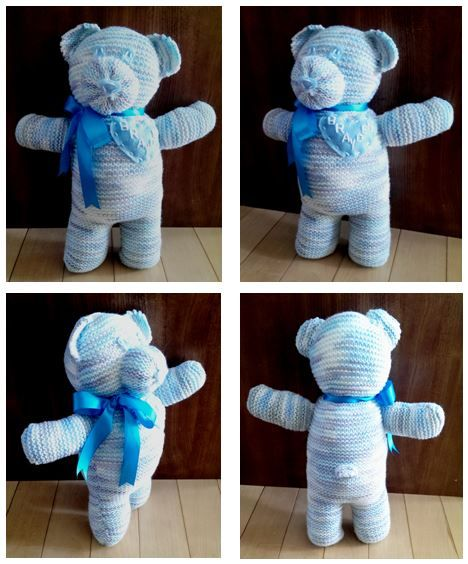 Hand Knit Teddy Bear, Personalized with Name on Heart