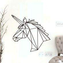Geometrische Eenhoorn Muursticker Verwijderbare Paard Hoofd Vinyl Decals Home Decor Voor Kinderen Kamers Decoratie Nieuwe Ontwerp(China (Mainland))