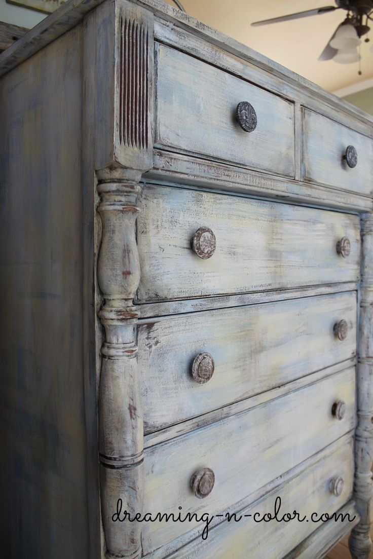 distressed antique furniture. Dreamingincolor: Layering Paint On A Dresser Distressed Antique Furniture