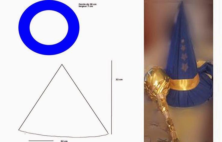 Fabriquer un chapeau de magicien, de sorcière pour Halloween - Un accessoire de déguisement simple à réaliser à partir d'un carton souple ou de feutrine, ou encore d'un tissu de type sièges auto (recyclage). Il peut être utilisé comme dans l'exemple pour un chapeau de magicien Merlin l'Enchanteur ou de sorcier, sorcière.