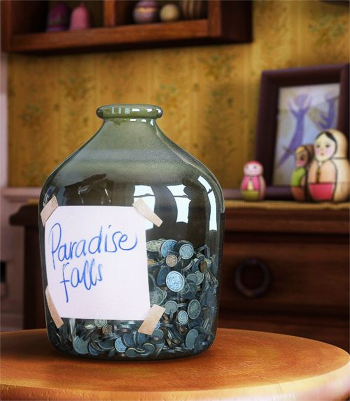 """Previous Pinner: I actually made a replica of this for my coffee table! It was constructed from a glass mason jar and I always stuff any little coins that I find in there. It even has the """"Paradise Falls"""" label on it!"""