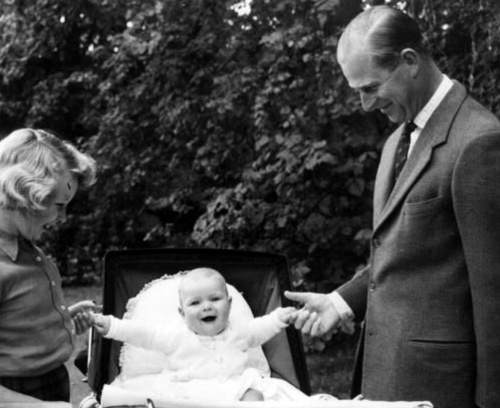 Prince Philip with his children, Anne and Andrew in 1960.