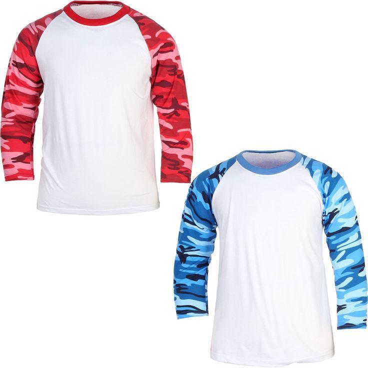 Men Women Baseball 3/4 Sleeve Raglan T-Shirt Sport Camouflage Military Sport Tee #hellobincom #RaglanTShirt34Sleeve