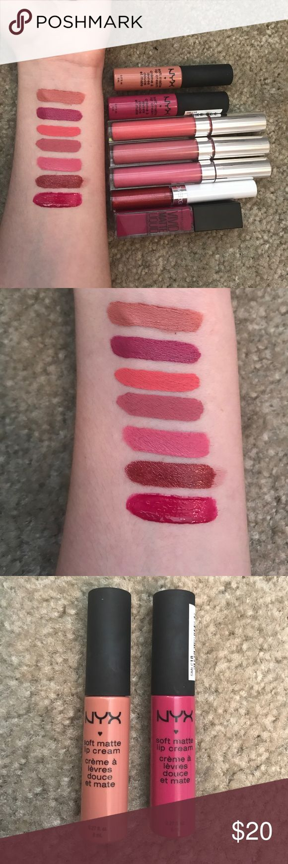 Lipstick bundle!! First two swatches: NYX soft matte lip cream in Stockholm & Prague, next three: Colourpop Ultra Matte lipstick in Donut, Solow, and 1st Base, next: Covergirl lipstick stain in a red shade & comes with a clear top coat, last: Maybelline Vivid Matte Liquid in Berry Boost (this one says matte but doesn't dry as matte, as can tell from the swatch. All swatches in order as previously named. Willing to sell separately, just comment! All never worn, only swatched!! Kylie Cosmetics…