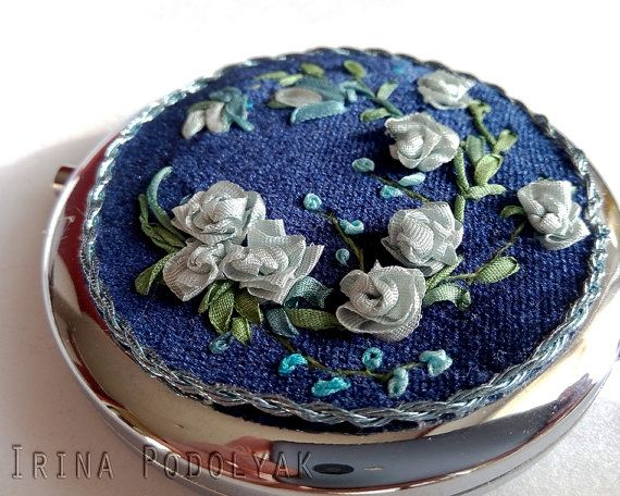 Mirror with Silk Ribbon Hand Embroidery. Authors work.  Materials – pure silk ribbons, vintage exclusive velvet, cotton and silk threads, mirror I