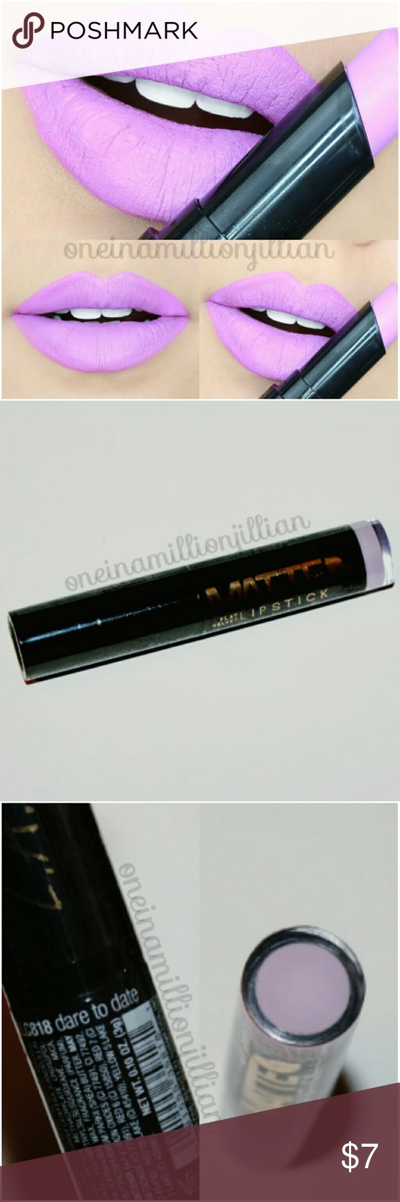 Matte Flat Velvet Lipstick - Dare to Date New/Sealed (Swatches from Google)  Full Sz & Authentic  Color: Dare to Date (light lavender)  LA Girl Matte Flat Velvet Lipsticks are rich in pigment with a flat, velvet finish.  ☆ Soft, smooth application ☆ Formula contains shea butter to hydrate lips  Check out my page for more great items & discounts. #oneinamillionjillian LA Girl Makeup Lipstick