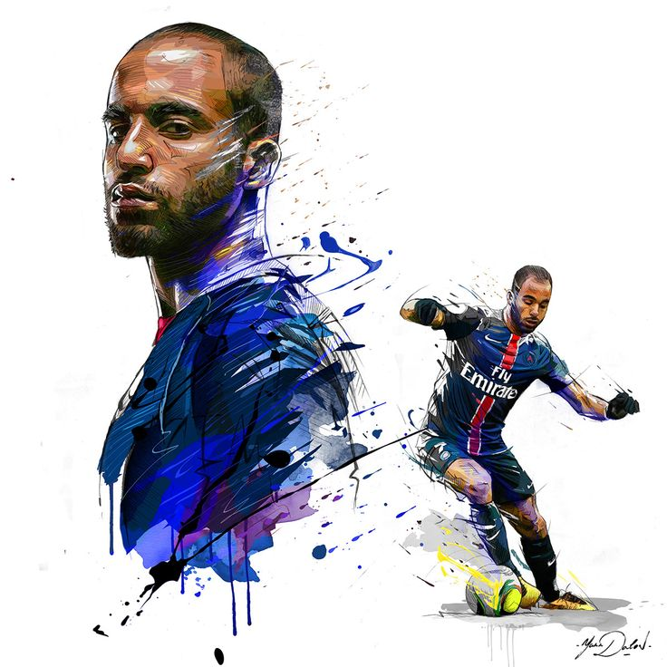 My painting of Lucas Moura, player of the Paris Saint Germain.