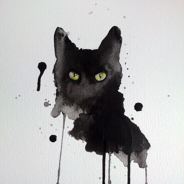 Black cat watercolor 8x10 art print signed by artist                                                                                                                                                     More
