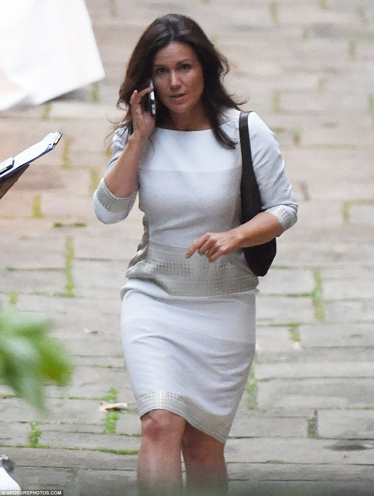 Neutral palette: Susanna Reid, 45, from Good Morning Britain, who looked sleek in a grey co-ordinated top and skirt